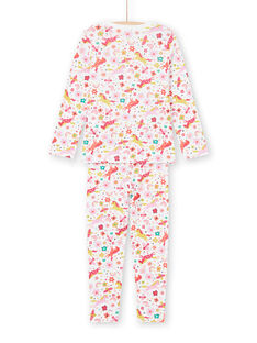 Girl's pink and ecru unicorns and fantasy print pajama set MEFAPYJUNI / 21WH1186PYJ001