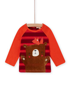 Baby girl coral, red and brown teddy bear T-shirt MUFUNTEE2 / 21WG10M1TML504
