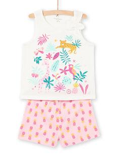 Girl's pyjamas with pink and ecru patterns LEFAPYJPIN / 21SH11C9PYJ001