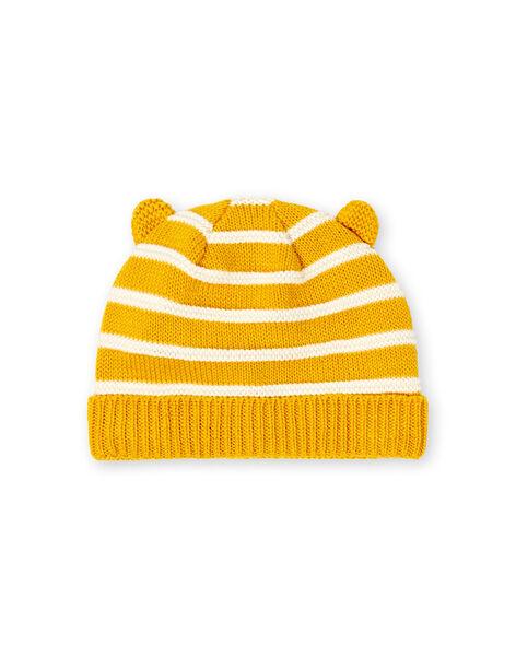 Yellow and white striped hat with fine knit stripes baby boy LYUNOBON / 21SI10L1BON106