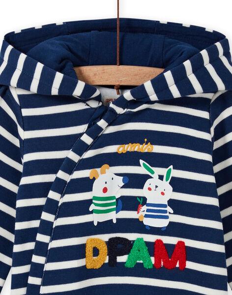 Baby boy's midnight blue striped jumpsuit with animal print MUMIXCOM / 21WG10J1CBL713