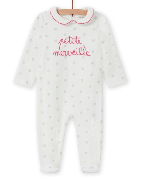 Baby girl's ecru romper with polka dots and Claudine collar MEFIGRETIT / 21WH1381GRE001