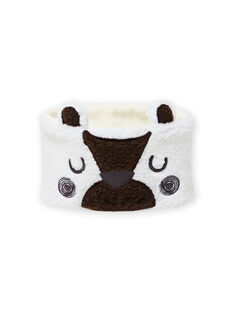 Ecru snood with sherpa bear pattern baby boy MYUGROSNO / 21WI1061SNO001