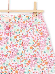 Baby Girl White & Pink Flower Shorts LAVISHORT / 21S901U1SHO000