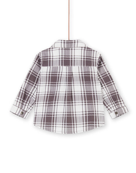 Taupe and white checkered baby boy shirt LUPOECHEM / 21SG10Y1CHM001