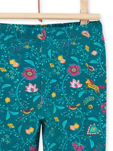 Baby girl duck blue floral print legging MYITULEG / 21WI09K1CAL714