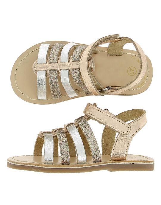 Baby girls' leather sandals CBFSANDGLI / 18SK37W3D0E954