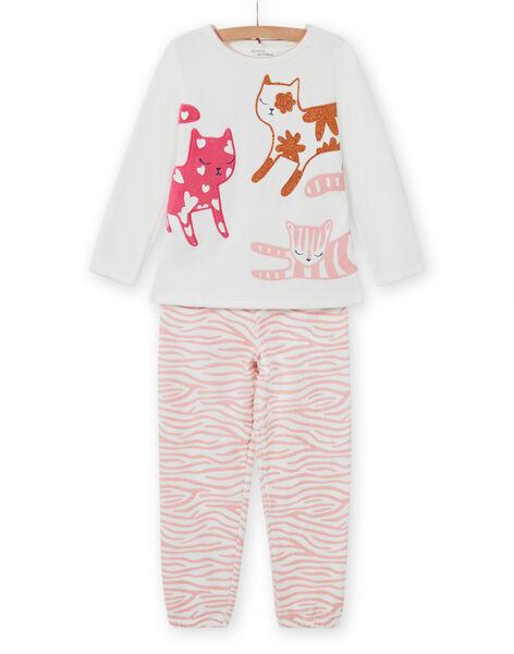 Girl's pyjama set with cat print T-shirt and pants MEFAPYJCAT / 21WH1184PYJ001