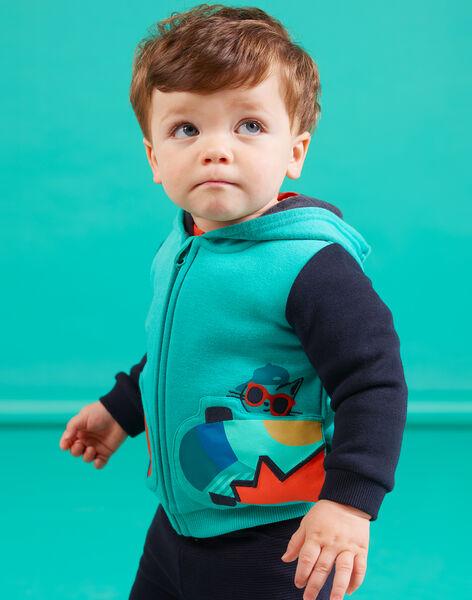 Baby boy turquoise hoodie with skateboard motif MUTUGIL / 21WG10K1GILC217