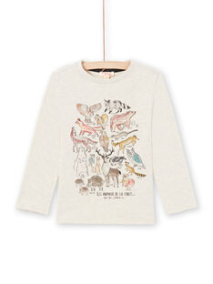 Boy's beige long sleeve t-shirt with forest animals print MOSAUTEE3 / 21W902P2TMLA013