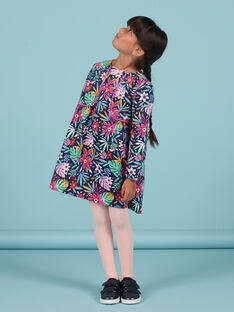 Child girl blue dress with colorful floral print in velvet MAPLAROB2 / 21W901O1ROBC202