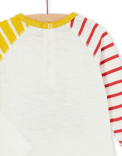 Ecru and yellow cotton t-shirt baby boy LUNOTEE3 / 21SG10L1TML001