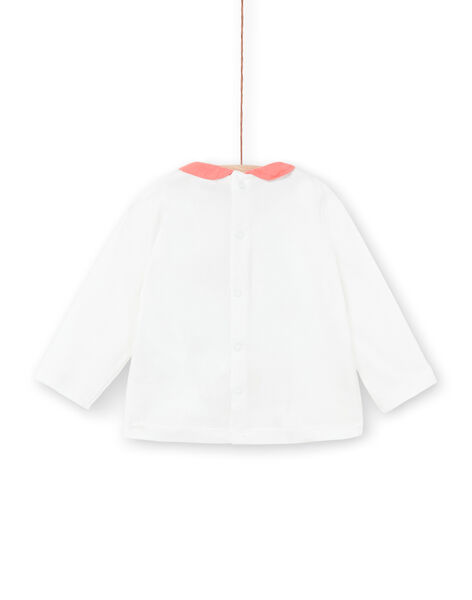 White long-sleeved T-shirt with contrasting collar LINAUBRA / 21SG09L1BRA001