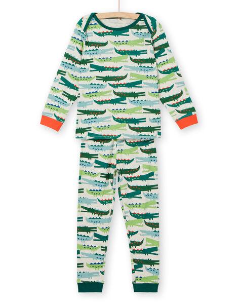 Crocodile-print ribbed boy's pajamas for children LEGOPYJCROC / 21SH1211PYJA010
