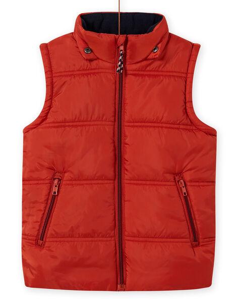 Boy's sleeveless hooded jacket with fox print MOGRODOU2 / 21W90251BLOE402