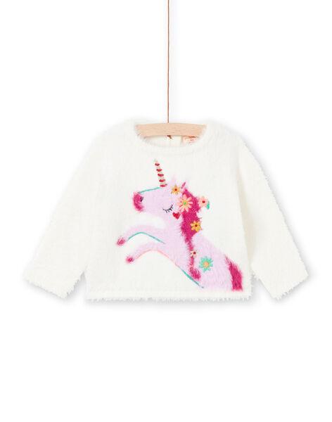 Baby girl ecru and pink sweater MITUPUL / 21WG09K1PUL001