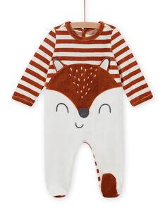 Striped velvet romper with fox pattern baby boy MEGAGRENAR / 21WH1494GRE001