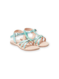 Green iridescent leather sandals with glitter straps, girl LFSANDLOU / 21KK355CD0E600