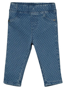 Baby girls' polka-dot denim leggings GIBLEJEAN / 19WG0991JEAP274