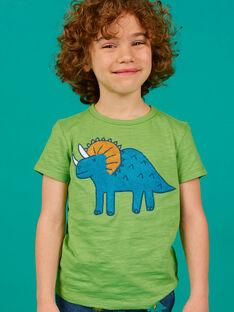 Green T-shirt child boy LOVERTI2 / 21S902Q5TMCG626