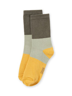 Boy's khaki green and yellow high socks MYOJOCHOC2 / 21WI0218SOQG631