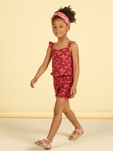 Girl's burgundy and orange jumpsuit with foliage print LATERCOMBI / 21S901V1CBL719