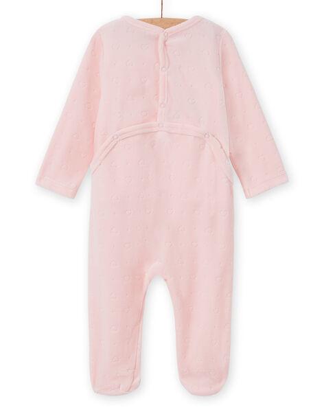 Pink velvet romper with rabbit pattern for baby girls MEFIGRELAP / 21WH1386GRED310