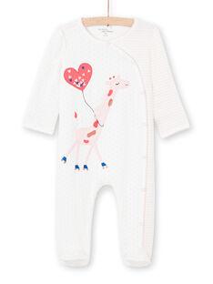 Baby girl's ecru striped and polka dot printed sleep suit MEFIGREGIR / 21WH1332GRE001