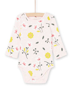 Baby girl pale pink and yellow floral print bodysuit MEFIBODFLE / 21WH13B7BDL301