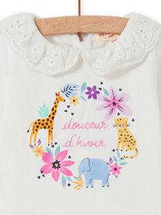 Baby girl's ecru veil collar t-shirt with fancy flower pattern MIPLABRA / 21WG09O1BRA001