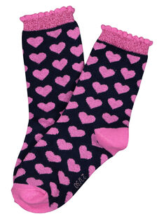 Girls' heart print socks GYABLECHO / 19WI0191SOQ070