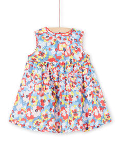 Blue and red baby girl floral print dress LICANROB2 / 21SG09M4ROB706