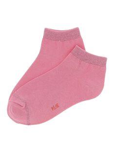 Girls' pale pink ankle socks CYAJOCHO7B / 18SI01S3SOQD308