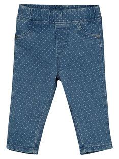 Baby girls' polka-dot denim leggings GIBLEJEAN / 19WG0991JEAP274