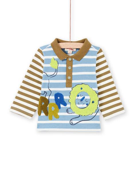 Baby boy's sky and khaki striped polo MUKAPOL / 21WG10I1POL020