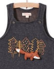 Baby boy charcoal grey overalls with fancy foxes MUSAUSAL / 21WG10P1SAL944