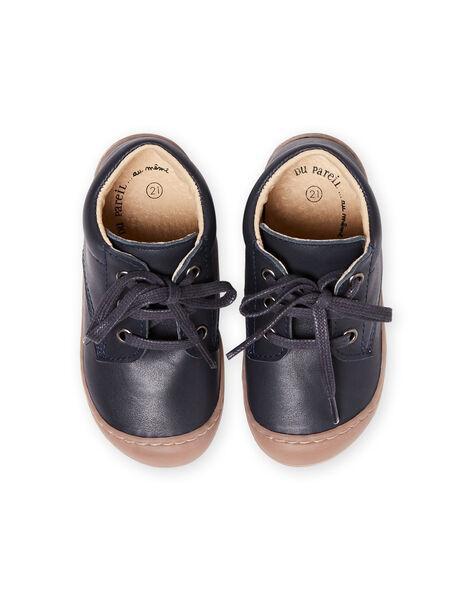Baby boy navy blue leather lace-up boots MUBOTIFLEXLACE / 21XK3851D0F070