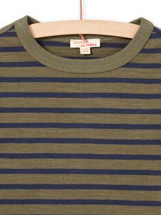 Boy's long sleeve khaki and navy blue stripes T-shirt MOJOTIRIB3 / 21W90225TMLG631