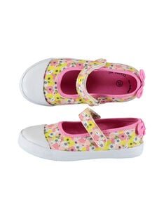 Girls' printed canvas Mary-Janes FFBABCER / 19SK35C2D17030
