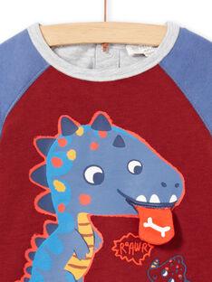 Baby boy's long sleeve burgundy t-shirt with dinosaur design MUPATEE1 / 21WG10H1TML719