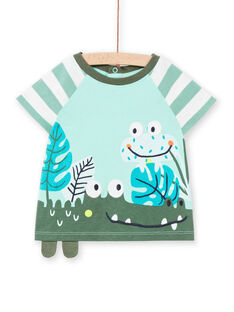 Baby boy turquoise t-shirt LUVERTI1 / 21SG10Q1TMCG621