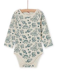 Baby boy ecru and blue space print long sleeve bodysuit MEGABODCHA / 21WH14C2BDL080