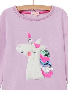 Girl's reversible unicorn sweatshirt with sequins MAPLASWEA / 21W901O1SWE326