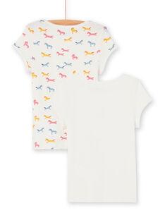 Lot of 2 t-shirts ecru and pink child girl LEFATELIC / 21SH1121HLI001