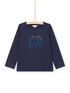 Girl's long sleeve t-shirt with cat motif MAJOYTEE1 / 21W90113TMLC205