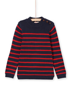 Boy's navy blue and red stripes sweater MOJOPUL3 / 21W90212PUL505