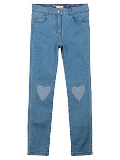 Girls' fancy slim fit jeans FANEJEAN / 19S901B1JEA721