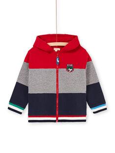 Red and gray striped hoodie boy boy boy LOHAGIL / 21S902X1GIL050