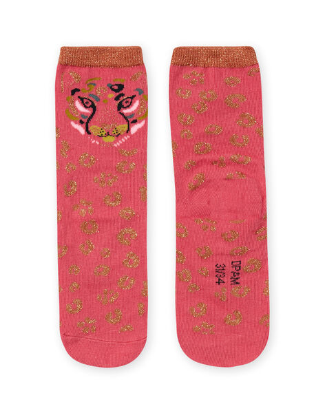 Girl's pink and gold leopard socks MYAKACHO / 21WI01I1SOQD305