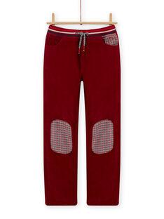 Boy's red velvet pants with burgundy lining MOFUNPAN / 21W902M2PAN511